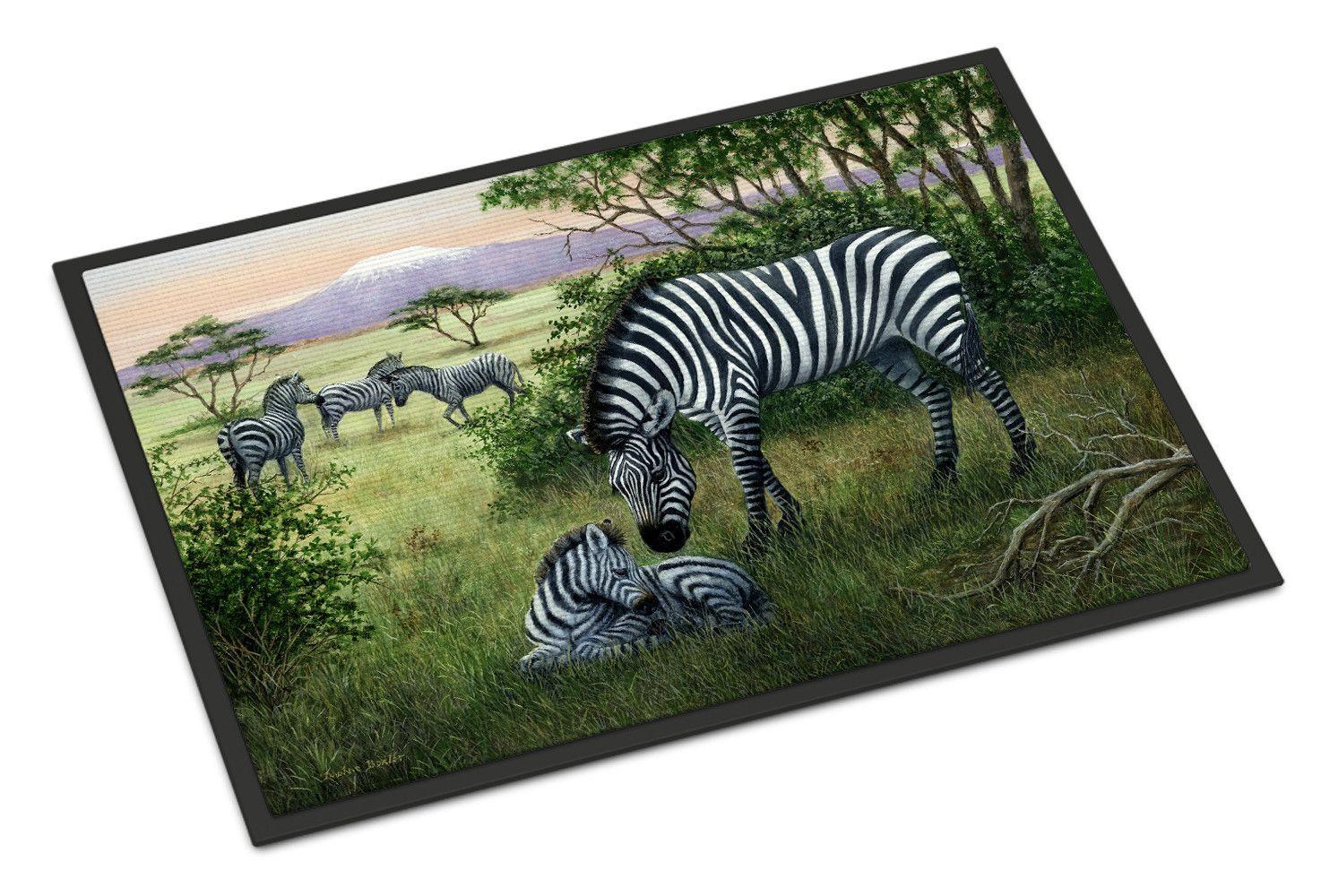 Zebras in the Field with Baby Indoor or Outdoor Mat 18x27 BDBA0385MAT