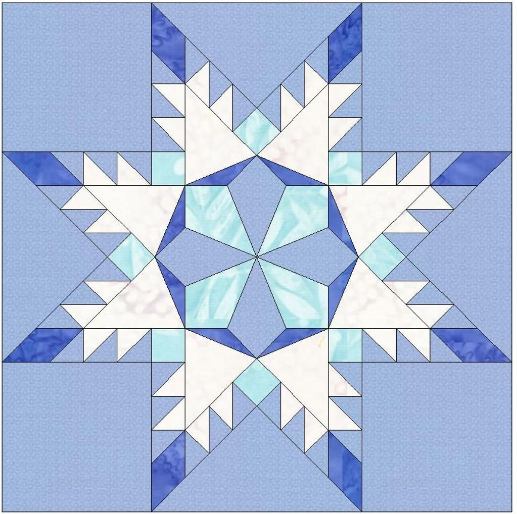 Snowflake Star Template 6 Inch Block   Foundation, Star and Designers : snowflake quilting design - Adamdwight.com