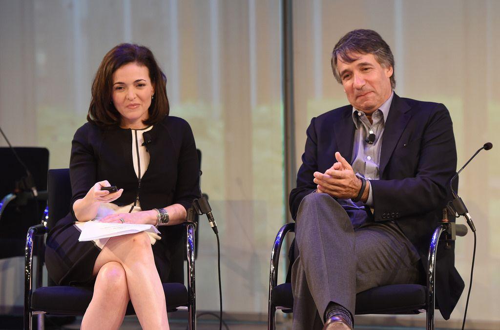 #AWXI Advertising Week:  Sheryl Sandberg (L) and Jonathan Klein speak onstage at the Rethinking Marketing to Women