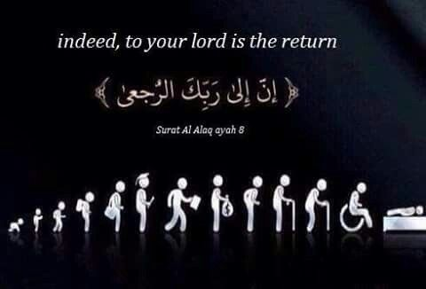 Indeed, to your Lord is the return.  Quran 96:8