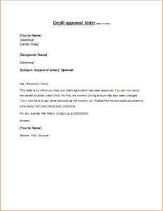 Credit Approval Letter DOWNLOAD At Writeletter2