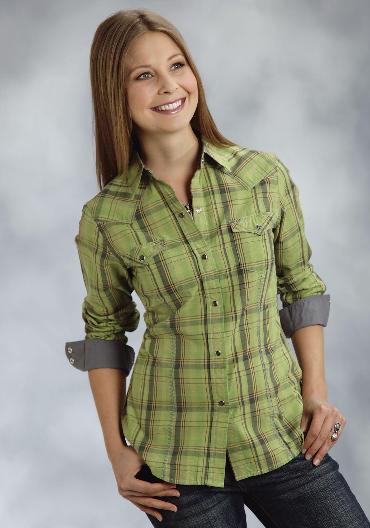 Snap Green Plaid Ladies Western Shirt ~ Split Pea ~ AJ's Western Wear - Snap Green Plaid Ladies Western Shirt ~ Split Pea ~ AJ's Western