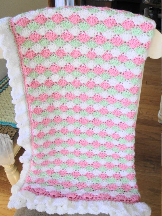 Crocheted shell stitch baby blanket in pink by AuntieJenniesAttic ...