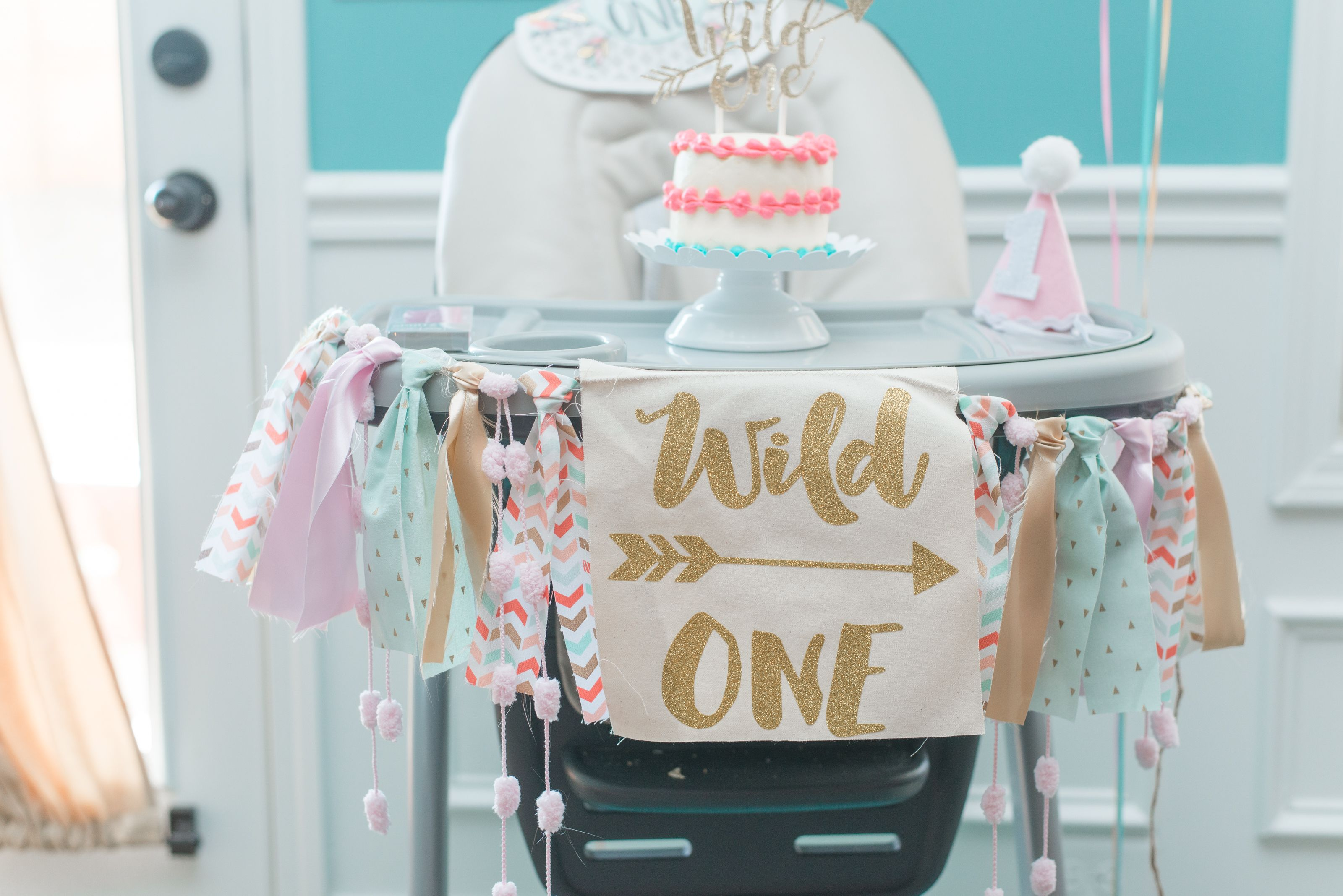 Wild One Birthday Party for a little girl! Teal, Blush