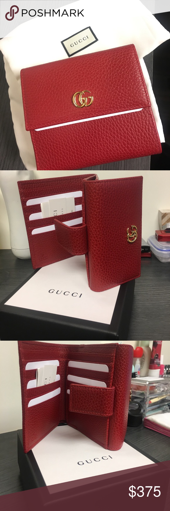 7ea969e6fe90 Gucci Red Leather French Flap Wallet Brand new Gucci Wallet with box and  silk dust bag. Never used- original papers still inside Gucci Bags Wallets