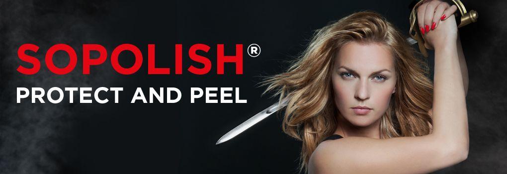 Sopolish Protect & Peel -kestolakkaus jossa kynnen ja lakan väliin laitetaan suojakalvo ja lakan saa repäistyä pois muutamassa sekunnissa.