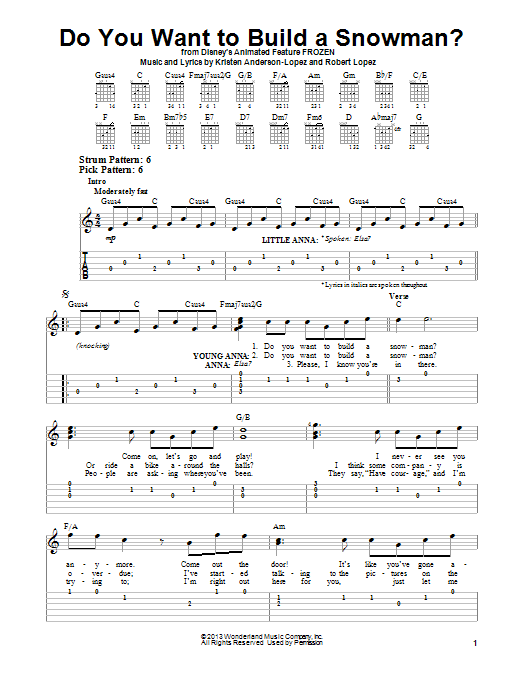 Do You Want To Build A Snowman By Robert Lopez Easy Guitar Tab Guitar Instructor Easy Guitar Tabs Easy Guitar Guitar Tabs