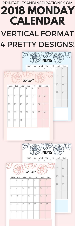 vertical 2018 monday calendar monday start calendar 2018 monday to sunday calendar 2018 calendar week starting on monday