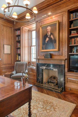 Study Wood Color Molding Floors And Fireplace Stonemill Study Marble Fireplace Surround
