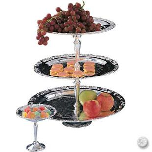 3 Tier Silverplate Large Dessert Stand Floral Design 70 45 Tiered Tray Dessert Stand Catering Supplies