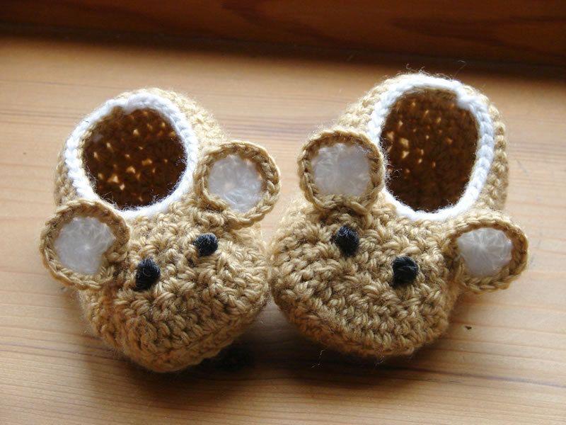 Crochet Pattern (PDF file) Little Fieldmouse Baby Shoes ...