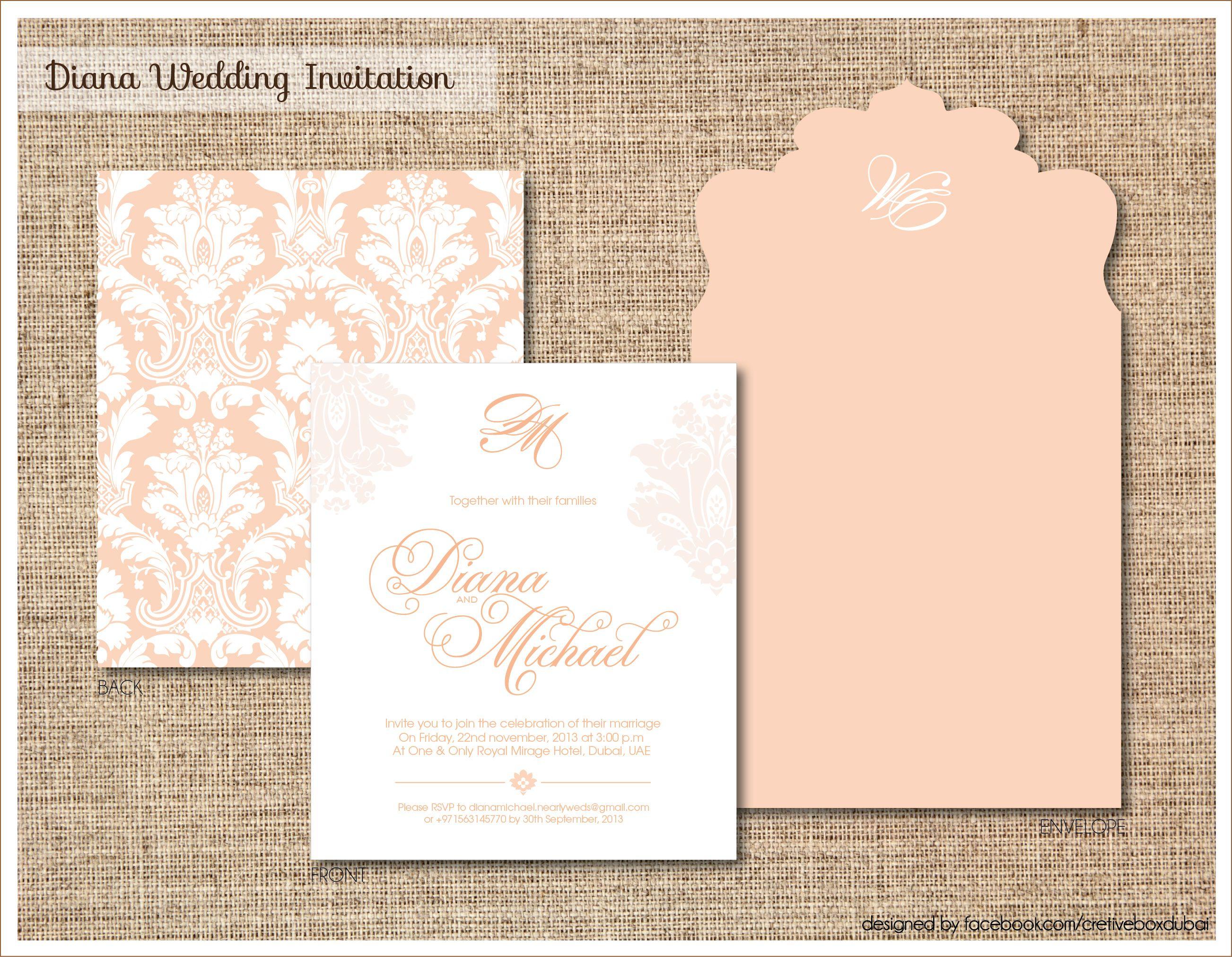 Peach Cream Wedding Invitation Peach Cream