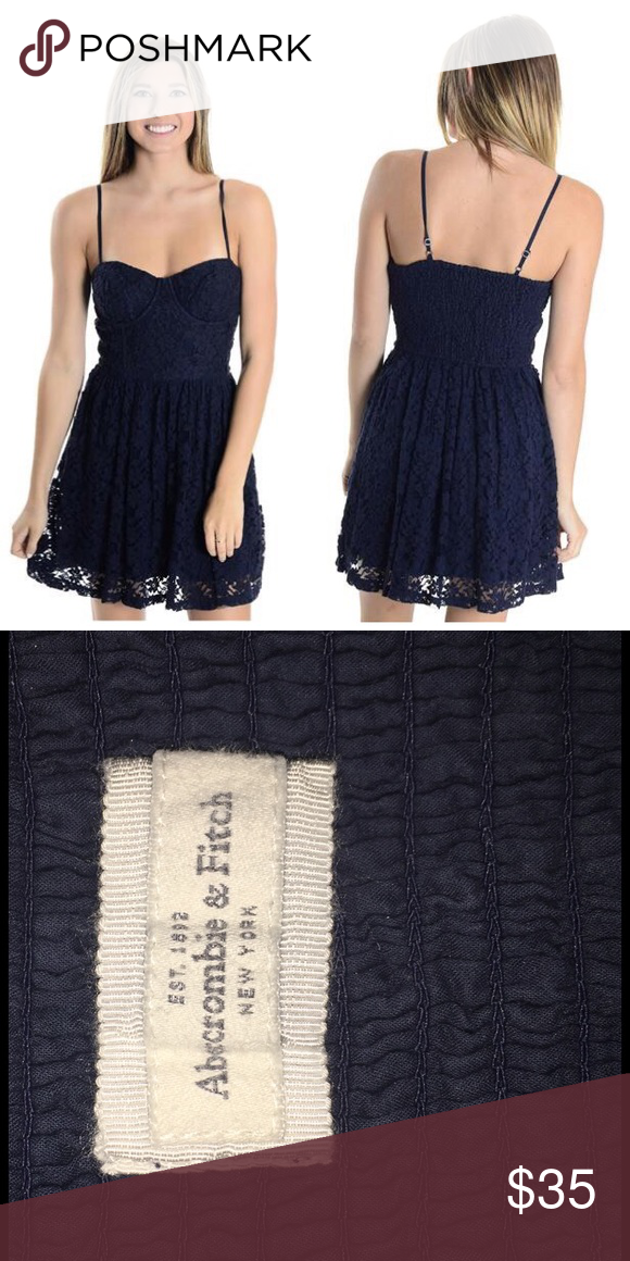bf1dfdd9f41 Abercrombie Lace Corset Dress Navy lace corset with boning. Elastic back.  Adjustable straps. Adorable and super comfy. Runs very small. Worn once.