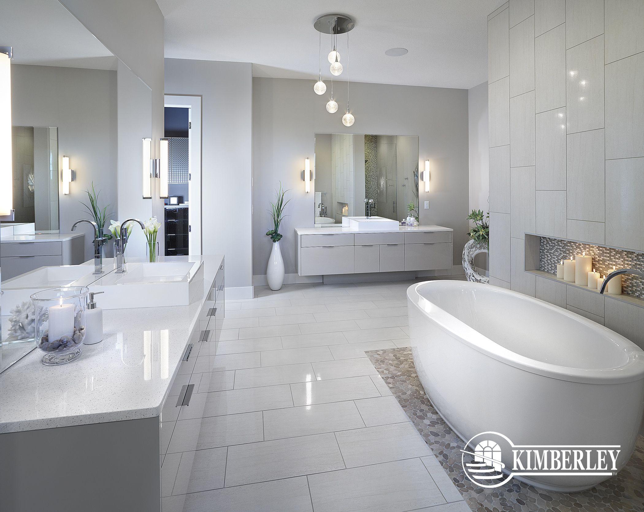 Master Ensuite In A Custom Infill Double Vanities Freestanding Tub Modern Details Kimberley Hom Bathroom Inspiration Decor Dream Bathrooms Bathroom Design