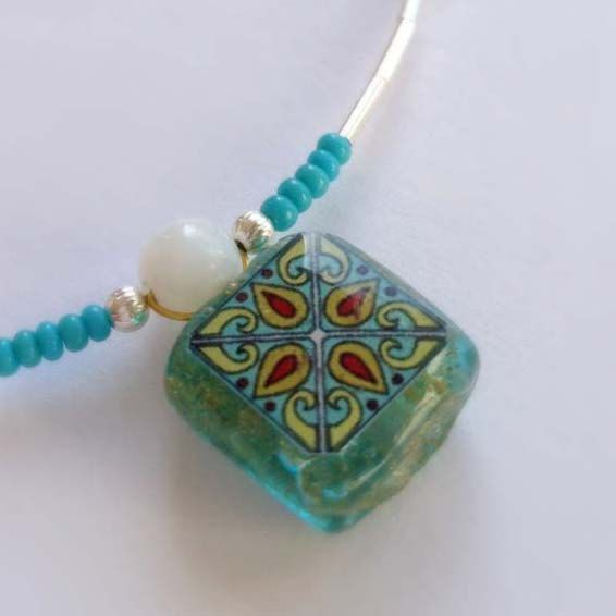 Spanish Mediterranean Tile Glass with Silver and Glass Beads Handmade Necklace