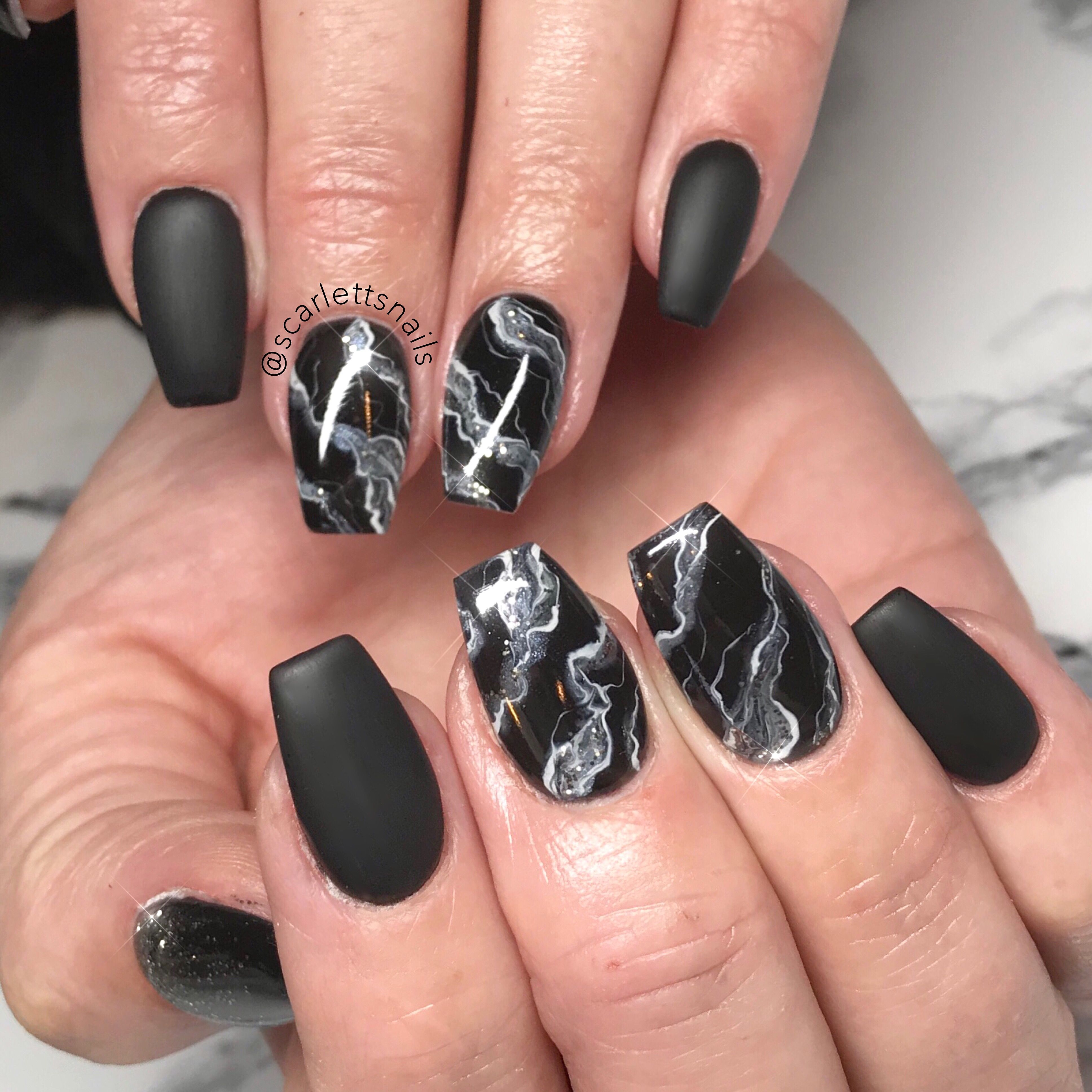 scarlettsnails smoky matte black marble tapered square gel nails ...