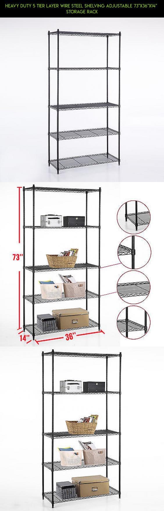 Heavy Duty 5 Tier Layer Wire Steel Shelving Adjustable 73\