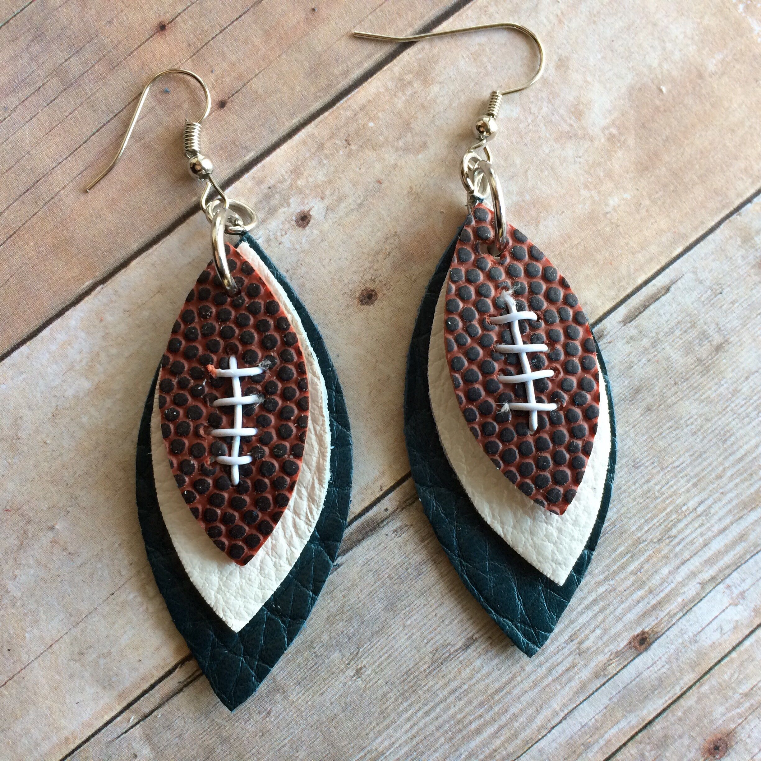 Gameday teal and white leather earrings, football teal and