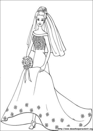 desenhos da barbie para colorir noiva | Atividades Escolares | Pinterest