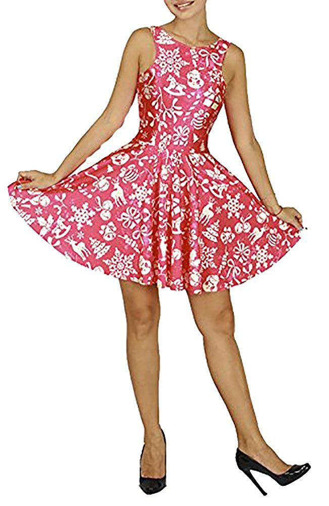 59f5a77fa3 Women s Cartoon Printed Stretchy Sleeveless Pleated Fit and Flare Skater  Dress at Amazon Women s Clothing store