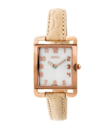 Bertha Quartz Marisol Collection Cream Leather Watch 21Mm - Tan Beige d7affff175