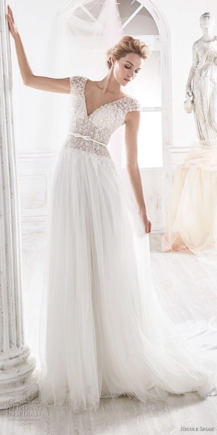 Nicole spose bridal cap sleeves v neck heavily embellished