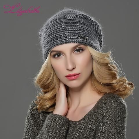 f2b88e34 LILIYABAIHE NEW Style Women Beanies winter hat knitted wool angora Striped  hats Exquisite letter decoration cap Double warm hat