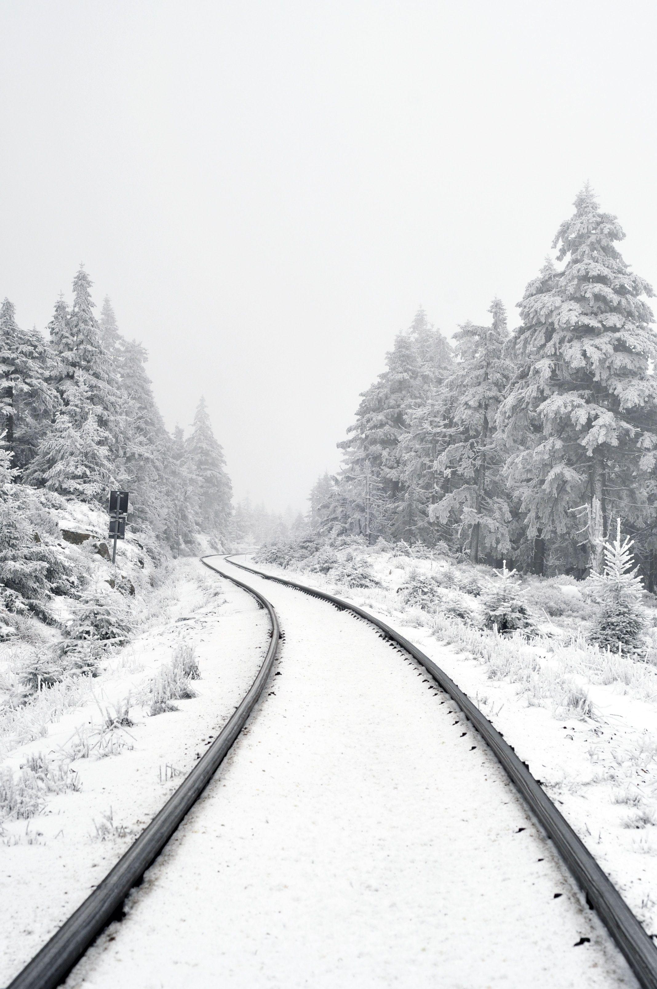 Snow On The Track Winter Travel Travel Aesthetic Train Tracks