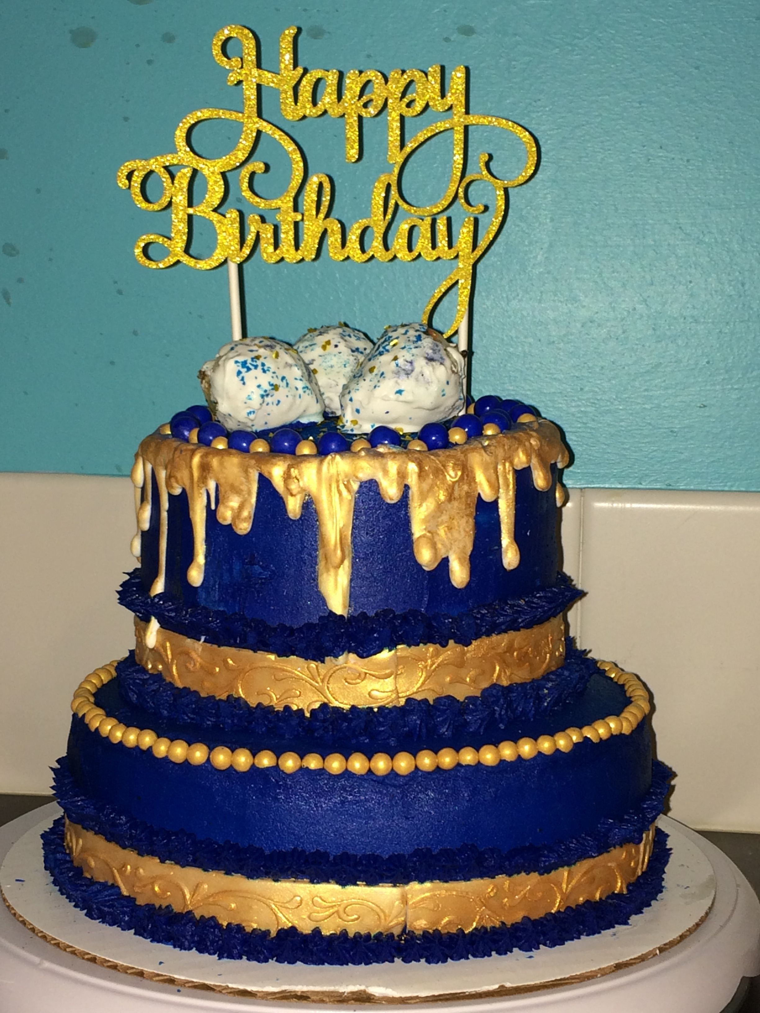 Royal Blue Gold Tiered Cake Amazing Cakes Including Mine In