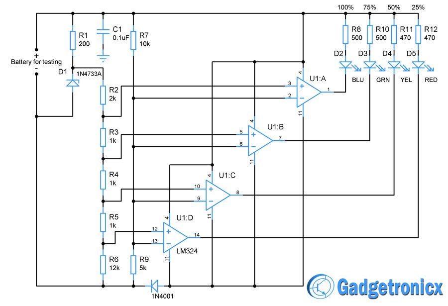 battery charge indicator circuit diagram opamp siafar pinterest rh pinterest com 6v battery full charge indicator circuit diagram 6v battery charging indicator circuit diagram