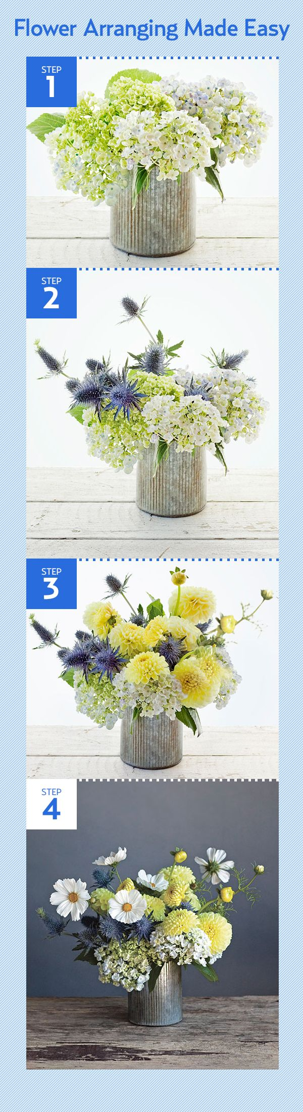 How to make this stunning centerpiece using hydrangea, thistle, dahlia, and cosmos --> http://www.countryliving.com/cooking/entertaining/millenium-allium#slide-5