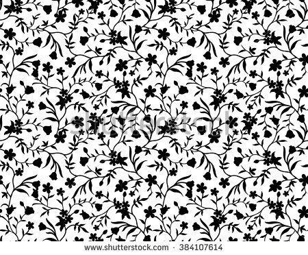 Black And White Floral Seamless Pattern Seamless Patterns