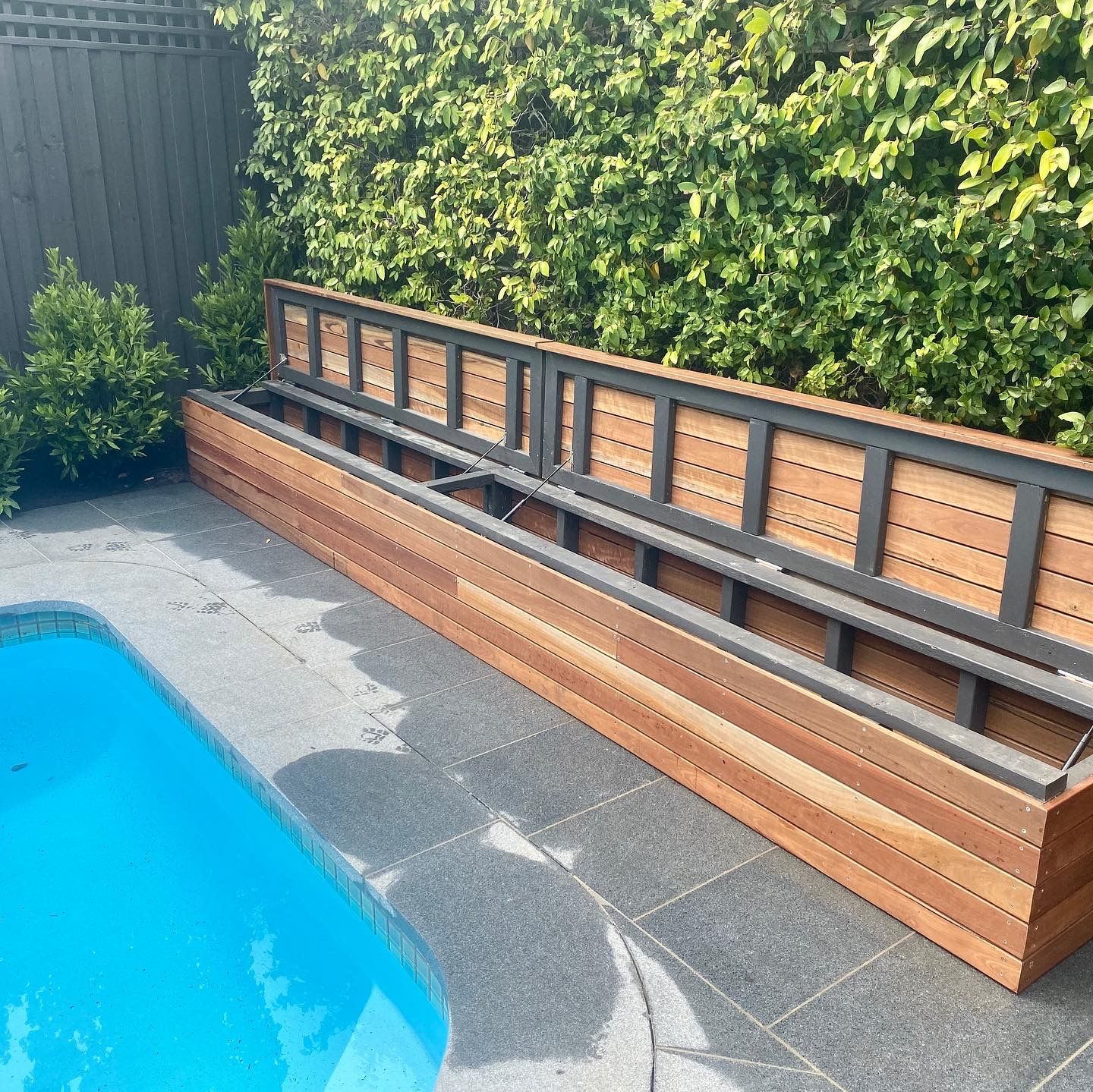Spotted Gum Bench Seat With Storage Backyard Pool Designs Pool Patio Decor Inground Pool Landscaping