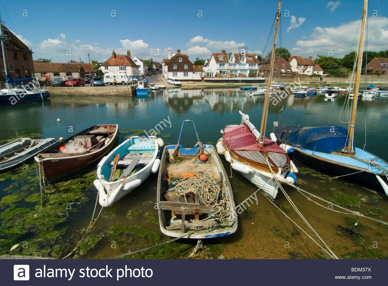 emsworth quay with boats tied up and still water Stock Photo