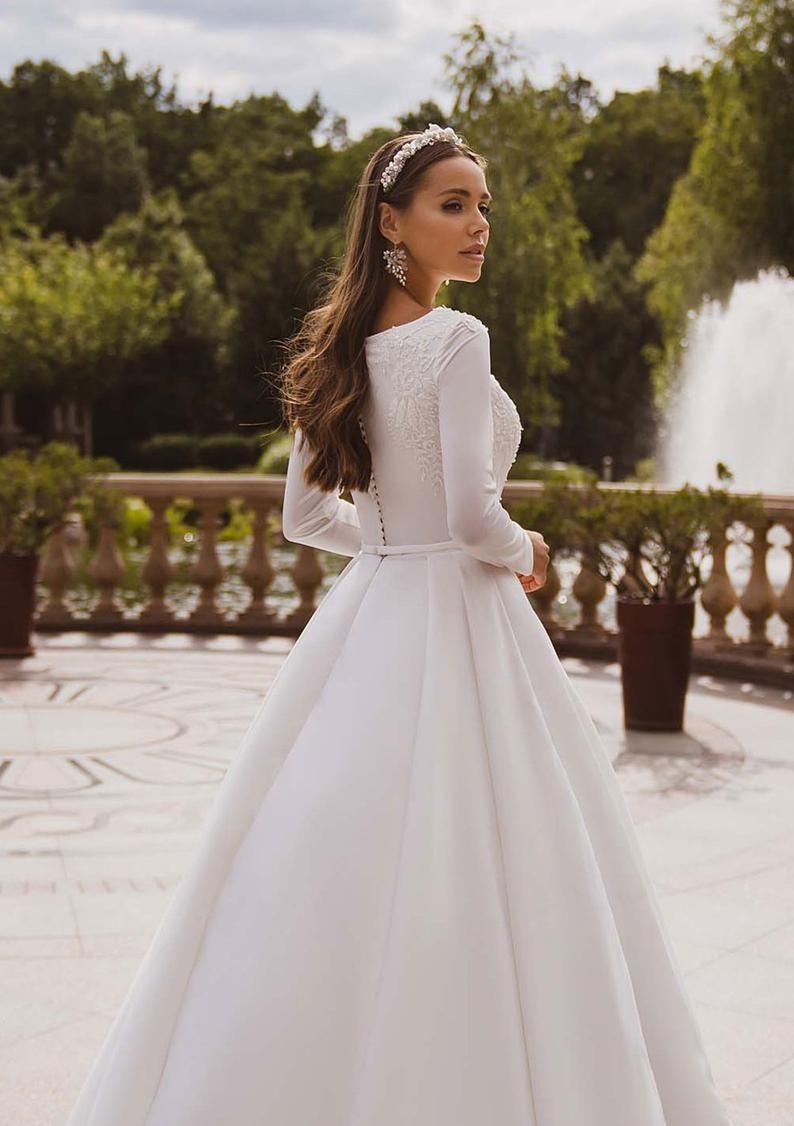 Simple Wedding Dress Long Sleeve Wedding Dress Modest Wedding ...