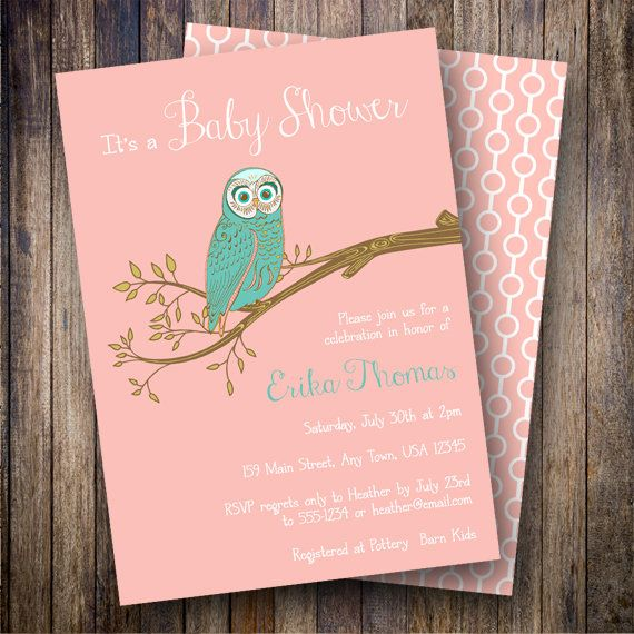 Vintage Owl Baby Shower Invitation, Retro Owl Baby Shower Invite - printable baby shower invite