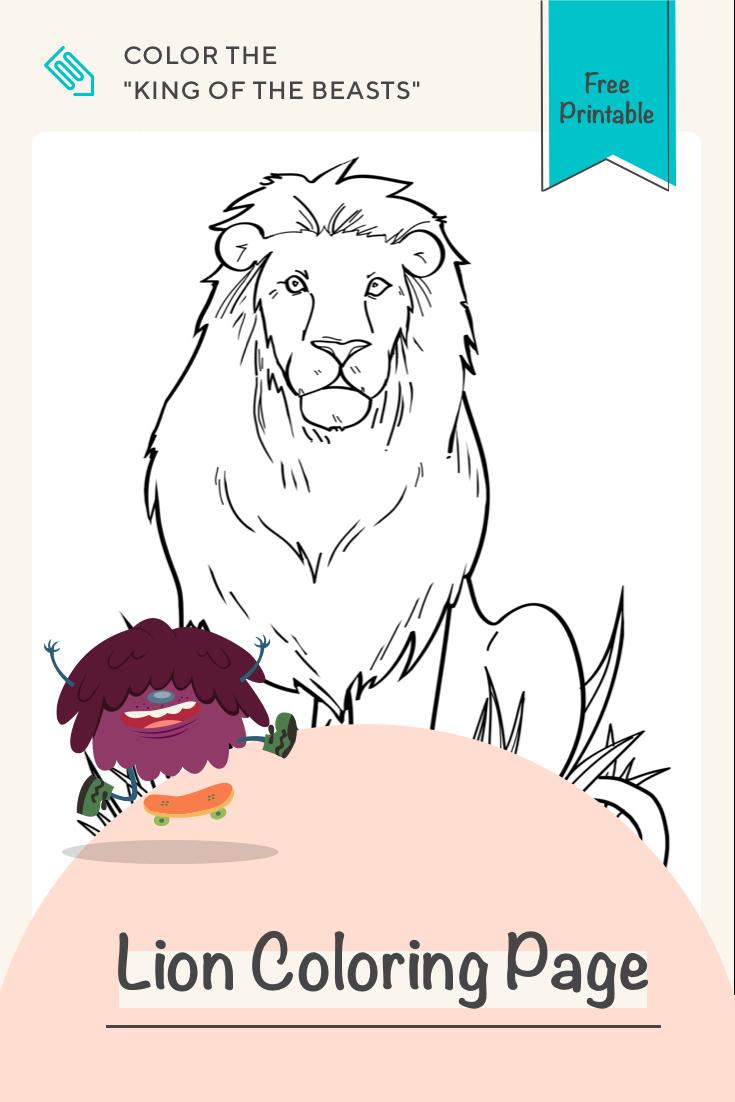 Lion   Worksheet   Education.com   Lion coloring pages [ 1102 x 735 Pixel ]