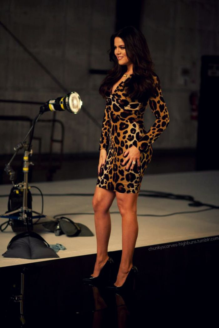 598a72911291 Khloe kardashian rocking the Kardashian Kollection leopard print dress
