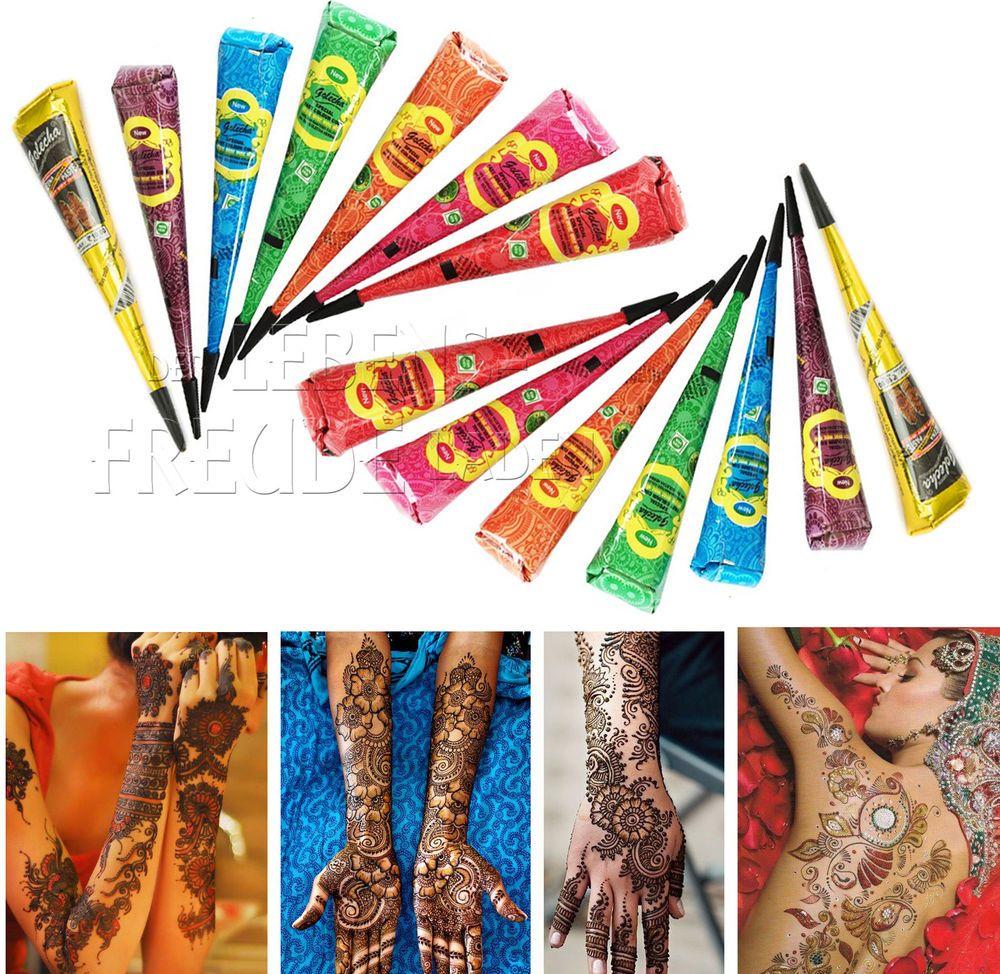 14x Golecha Henna - Farbige/colour Kegel á 25g Hennapaste - Klinisch getestet!   eBay
