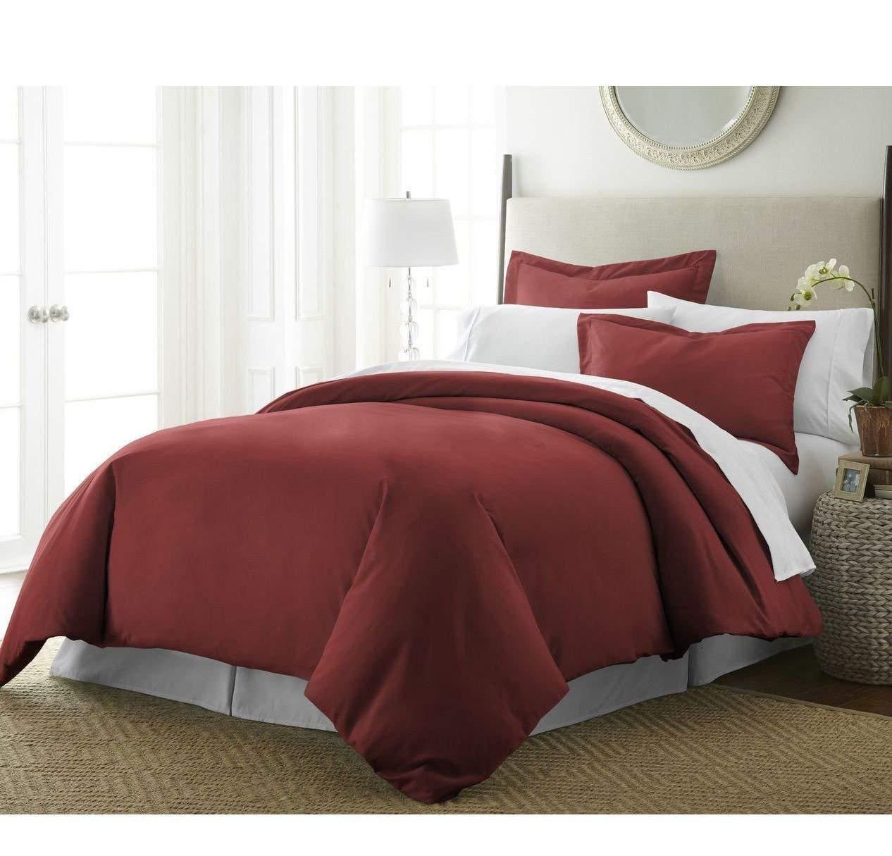 Burgundy Red Geometric Square Shape Pattern Duvet Cover Full Queen