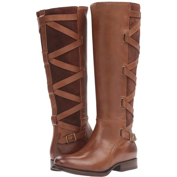 Frye Jordan Strappy Tall (Wood Smooth Vintage Leather/Oiled Suede)... ($498) ❤ liked on Polyvore featuring shoes, boots, knee-high boots, low heel knee high boots, thigh-high boots, frye knee high boots, suede knee-high boots and vintage leather boots