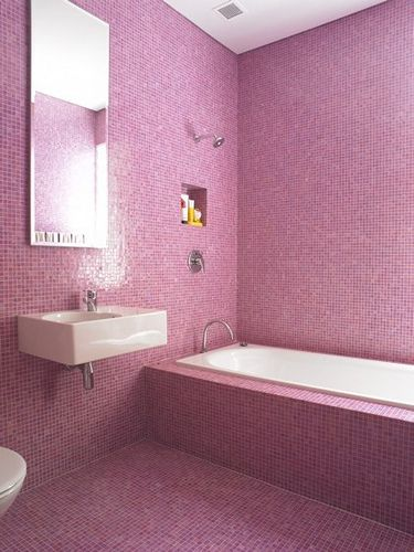 bano de gresite rosa - Azulejos Rosa
