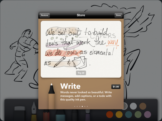 You get Erase and Draw for free, but other tools like Write, Sketch, Outline, and Color are $1.99 in-app purchases.