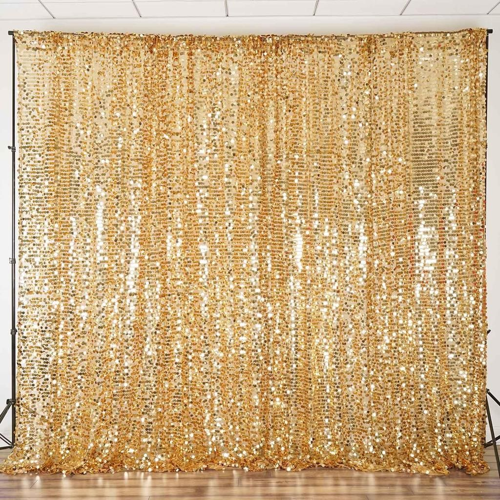 20ft Gold Big Payette Sequin Curtain Panel Backdrop Wedding Party
