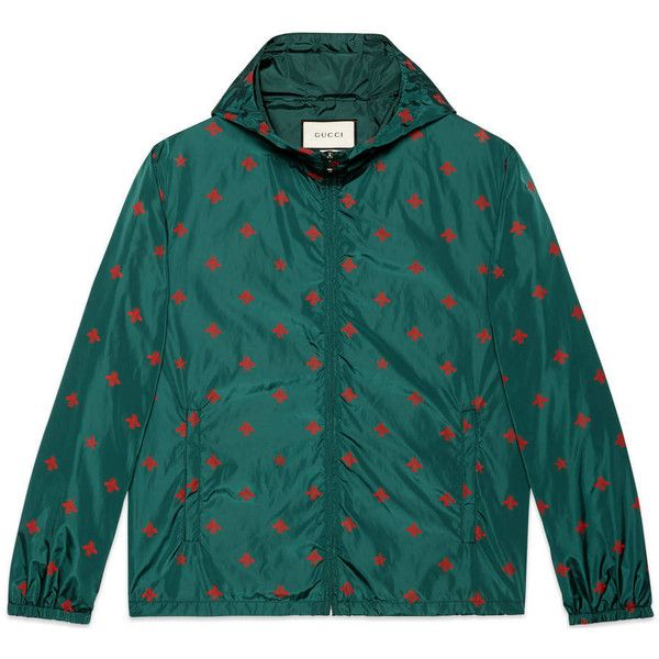 de77c1b15 Gucci Bee Star Print Windbreaker ($960) ❤ liked on Polyvore featuring  green, men, outerwear, ready to wear and gucci