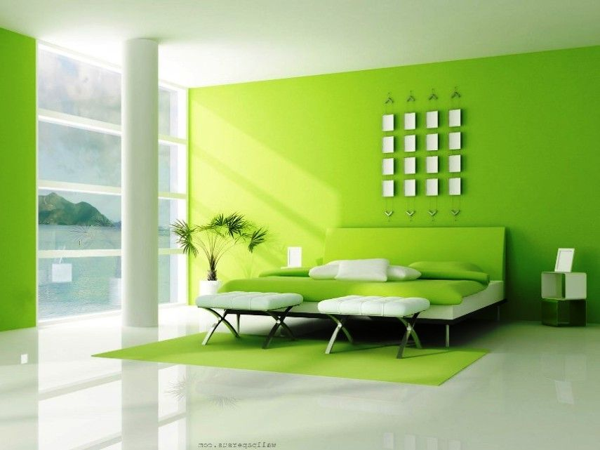 Cat Rumah Warna Hijau Dan Putih Living Room Bedroom Green