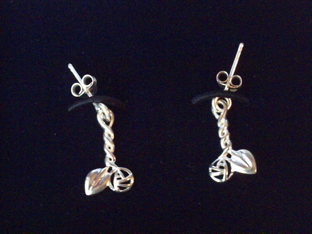 a0837a475 Sterling silver Rennie Mackintosh Glasgow rose drop dangle earrings 925  Carrick…