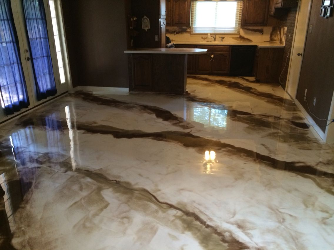 Metallic epoxy marbled white and brown abilene texas for White flooring ideas