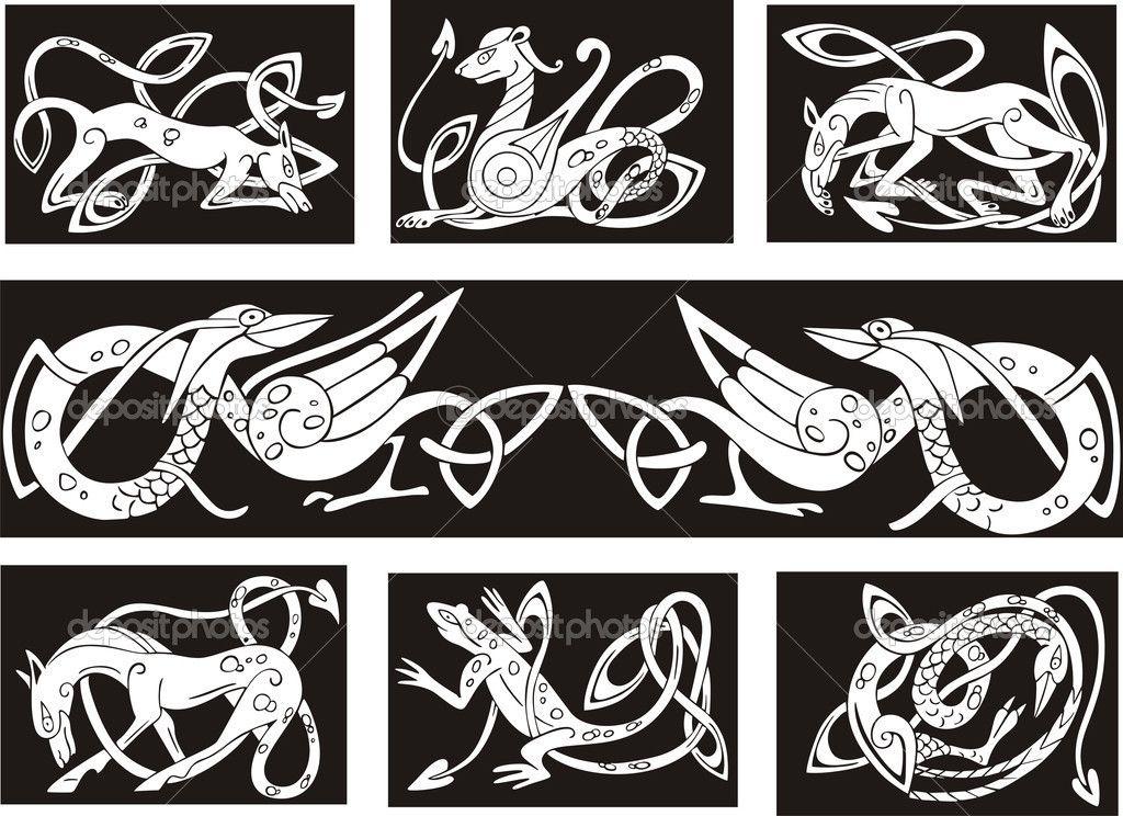 Celtic knot patterns wuth animals — Stock Illustration