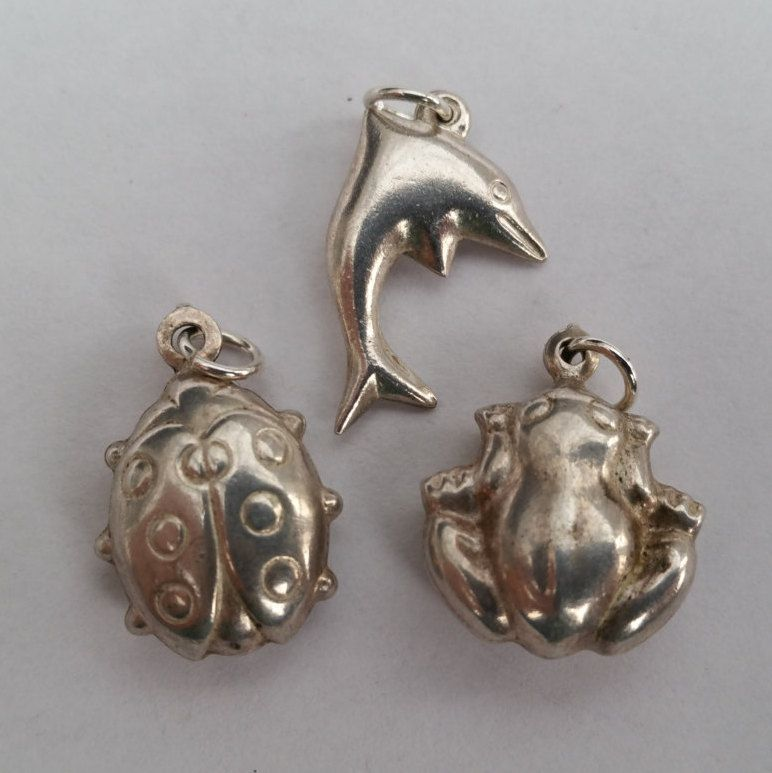 SALE!! 3 Animal Puffed Charms. Collection of Sterling Silver Vintage Charms Perfect for Child's Bracelet or Necklace. by LittleVintageCharmCo on Etsy